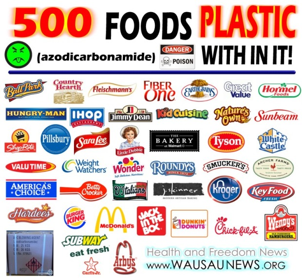 500 foods that have Plastic in them (azodiacarbonamide)